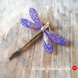 Purple Patina Dragonfly Bobby Pin Hair Clip